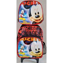 Kit Mochila Carrinho Pequena + Lancheira Mickey (pto)