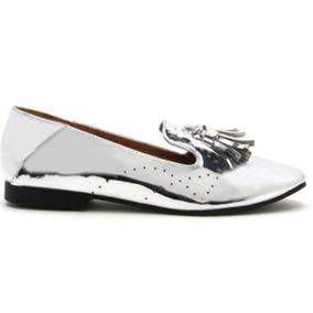 Zapato Dama Qupid Mocasínes Elegantes Plateados