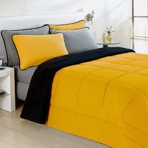Kit Edredom Queen 100%algodão Duplaface Amarelo Preto C/5pçs