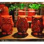 Set De Tres Lechuzas De Raku Rojo Diseño Decoración