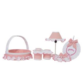 Kit Acessórios Para Quarto De Bebê - 07 Peças - Rosa Decor