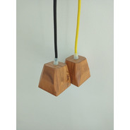 Lámpara Colgante Doble De Madera Cubito Campanita