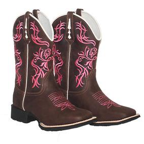Bota Feminina Country Texana Cano Longo Couro Bico Quadrado