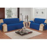 Protetor Para Sofá De 2 E 3 Lugares Tecido Microfibra Azul
