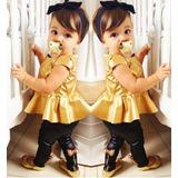 Conjunto Dourado Roupa Menina 3 Anos