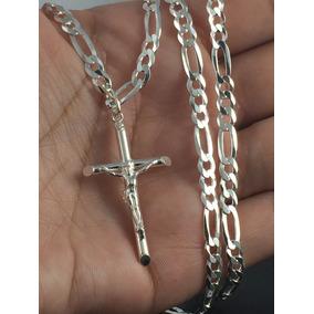 Corrente Prata Maciça 925 Masculina 70 Cm C/ Crucifixo