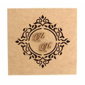 Caixa 15x15x5 Mdf Crú Casamento Brasão E Iniciais R11