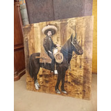Original Pintura Oleo De Emiliano Zapata En Madera Antigua.