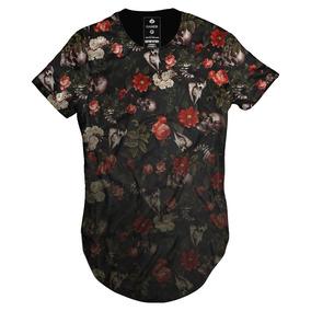 Camiseta Masculina Gola Canoa Longline Oversized Floral