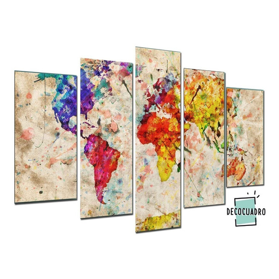 Cuadros Planisferio Mundo Poliptico 150x100 Canvas Tela