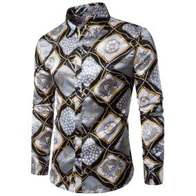 Turndown Collar 3d Rudder Cadena Camisa Impresión Geométrico