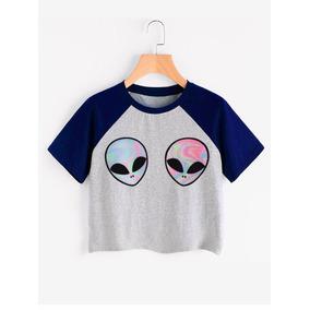 Camiseta Crop Top Alien Marciano Ovni Psicodelico Colores