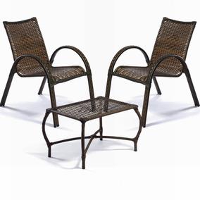 Jogo Cadeira Poltrona Varanda Mesa Em Fibra Sintética E Aço