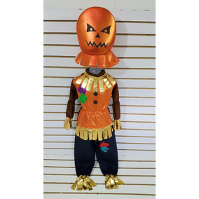 Disfraz Niño Espantapajaros Cabeza Calabaza Hallowen