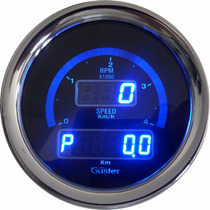 Conta Giros Diesel E Velocimetro Digital 85mm Guster Azul
