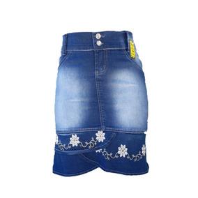 Saia Jeans Moda Evangelica Babado Bordado Promoçao Lançament
