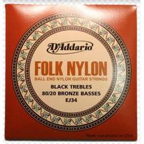 Daddario Ej34 Folk Nylon Corda De Violão 80/20 Bronze