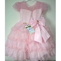 Vestido Rosa Princesa Festa Dama Fantasia Faixa Ou Tiara Bri