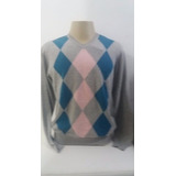 Suéter Masculino Tricot Individual Losangos Cinza Mescla