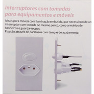 Interruptor Paralelo + Tomada 2p+t  20 Amperes Embutir Moveis / Paineis / Madeira / Furação Redonda Serra Copo Margirius
