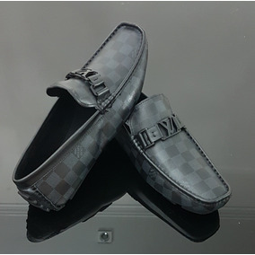 Sapato Louis Vuitton Masculino Mocassin Preto Estampado