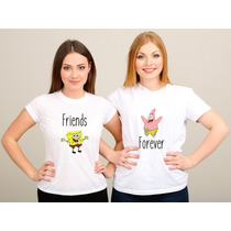 Kit 2 Camisetas Baby Look Friends Forever Amigas Bob Esponja