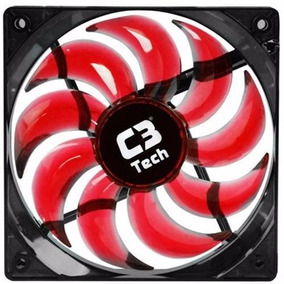 Cooler Gabinete C3tech F7-l100 Storm 12x12x2,5 Led Vermelho