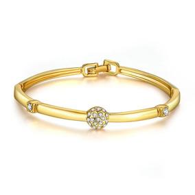 Pulseira Feminina Bracelete Banhada Em Ouro 18k + Cristais