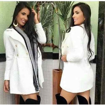 Lindo Sobretudo Casaco Jaqueta Vestido De Inverno