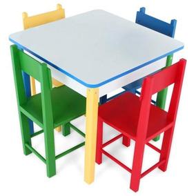 Mesa Com 4 Cadeiras De Madeira Carlu 5017 Colorida