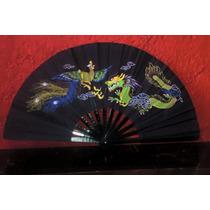Abanico De Bambú Negro Fénix Y Dragón Para Taichi