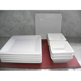 Platos Cuadrados Blancos X 6 + Compoteras Cuadradas X 6