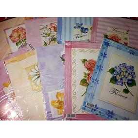 Lote C/9 Blocos De Papéis De Carta Flores Rosas Floral