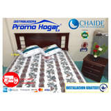 Cama + Colchon Chaide 2 Plazas+ Velador+ 2 Almohada+ Entrega