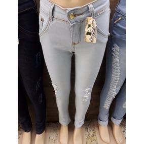 Calça Jeans Infantil Menina Destroyed Rasgada Color 10 Ao 14