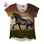 Blusa Feminina Cavalo Preto Cavalgada Country C1966