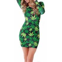 Vestido Sexy Unitalla Manga Larga Hoja Cannabis Marihuana