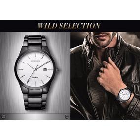 Reloj De Caballero Curren Black And White Elegante Y Casual