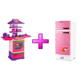 Cozinha Fogão Master Poliplac + Geladeira Rosa 8051l Oferta!