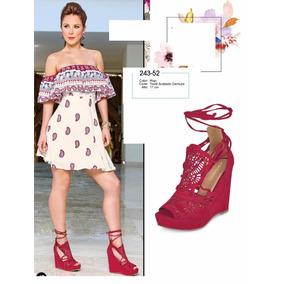 Zapatos Cklass Rojo Wedge Primavera Verano 2017 Nuevos