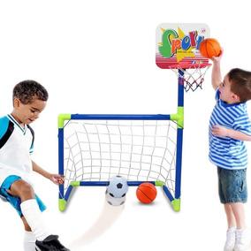 Set Mini Porteria Futbol Soccer Baloncesto Basket Niños