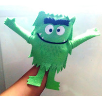 Títere Mano Animal Simil El Monstruo De Colores Verde 20cm