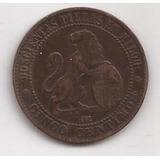 España Antigua Moneda De 5 Centimos Año 1870 Muy Linda
