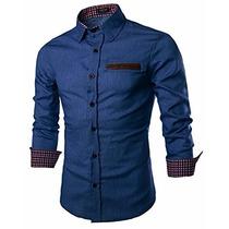 Camisa Casual Coofandy Azul Claro Tipo Mezclilla Talla 3xl