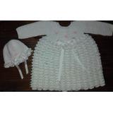 Conjunto Vestido-capelina Bebe Tejido Crochet Artesanal