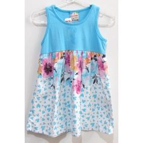 Vestido Infantil Feminino, Azul E Branco, C/ Flores Na Saia.