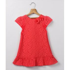Vestido Niña De Encaje Color Coral De Usa Talle 7
