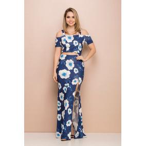 Vestido Longo Sintonia Floral Com Fenda Azul E Branco.