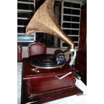 Gramofone Vitrola Rotação 78 +3 Discos Antigos+20agulhas