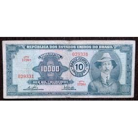Billete 10 Cruzeiros Novos S/10.000 Cruzeiros Brasil 1967 Vg